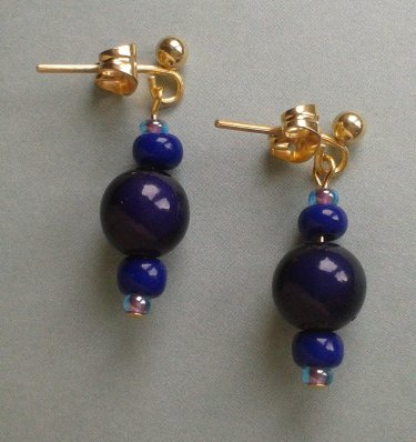 Dark Purple & Blue Earrings