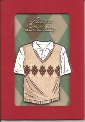 Red Argyle Birthday UGV Card