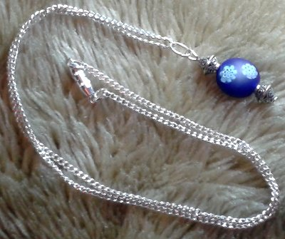 Blue Flower Pendant with silver plated chain