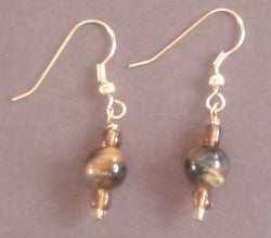 Tigers Eye Single Bead Earrings
