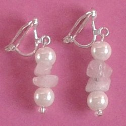 Rose Quartz and Pearl Earrings with clips