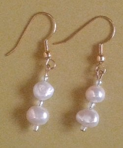 Cream Duo Freshwater Pearl Earrings