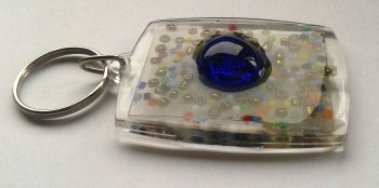 Big Blue Cabochon Keyring