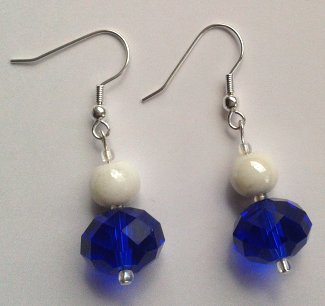 Big Blue Rondelle Earrings