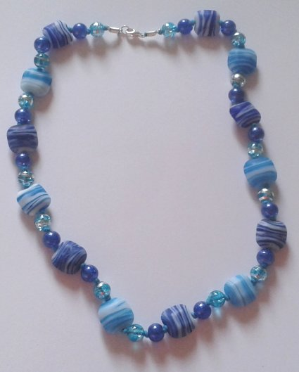 Knotted Blue Frosted Glass Necklace