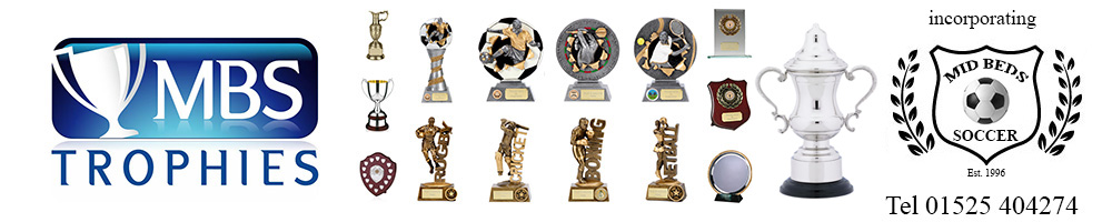 MBS Trophies incorporating Mid Beds Soccer, site logo.