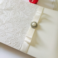 Vintage Wedding Guest Book with Brooch and Ribbon