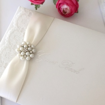 Lace Guest Book with Vintage Pearl Brooch