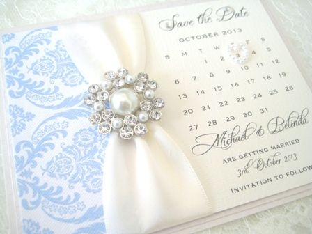 Handmade Save the date cards with vintage brooch