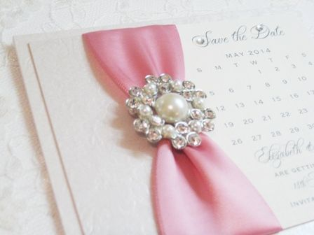 Save the date calendar cards with pearl embellishment