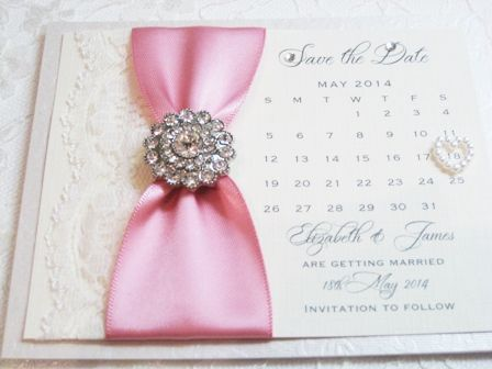 Vintage lace and diamante save the date calendar cards