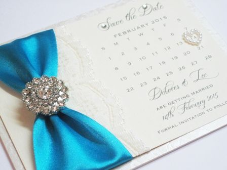 save the date cards with lace and brooch