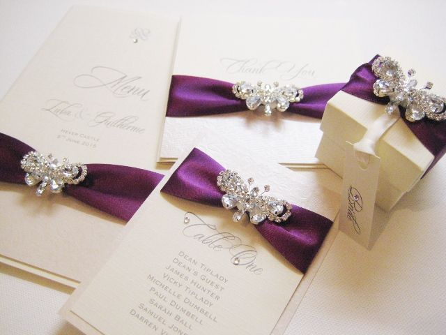 Luxury butterfly wedding invitations with plum ribbon