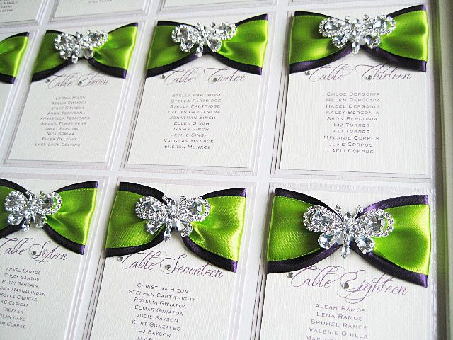 Lime and purple butterfly seating plan