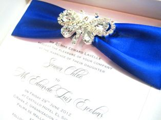 crystal butterfly invitations with royal blue ribbon
