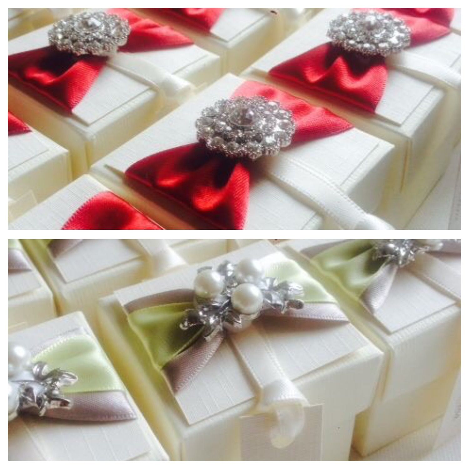 Luxury wedding favour boxes with brooch and ribbon