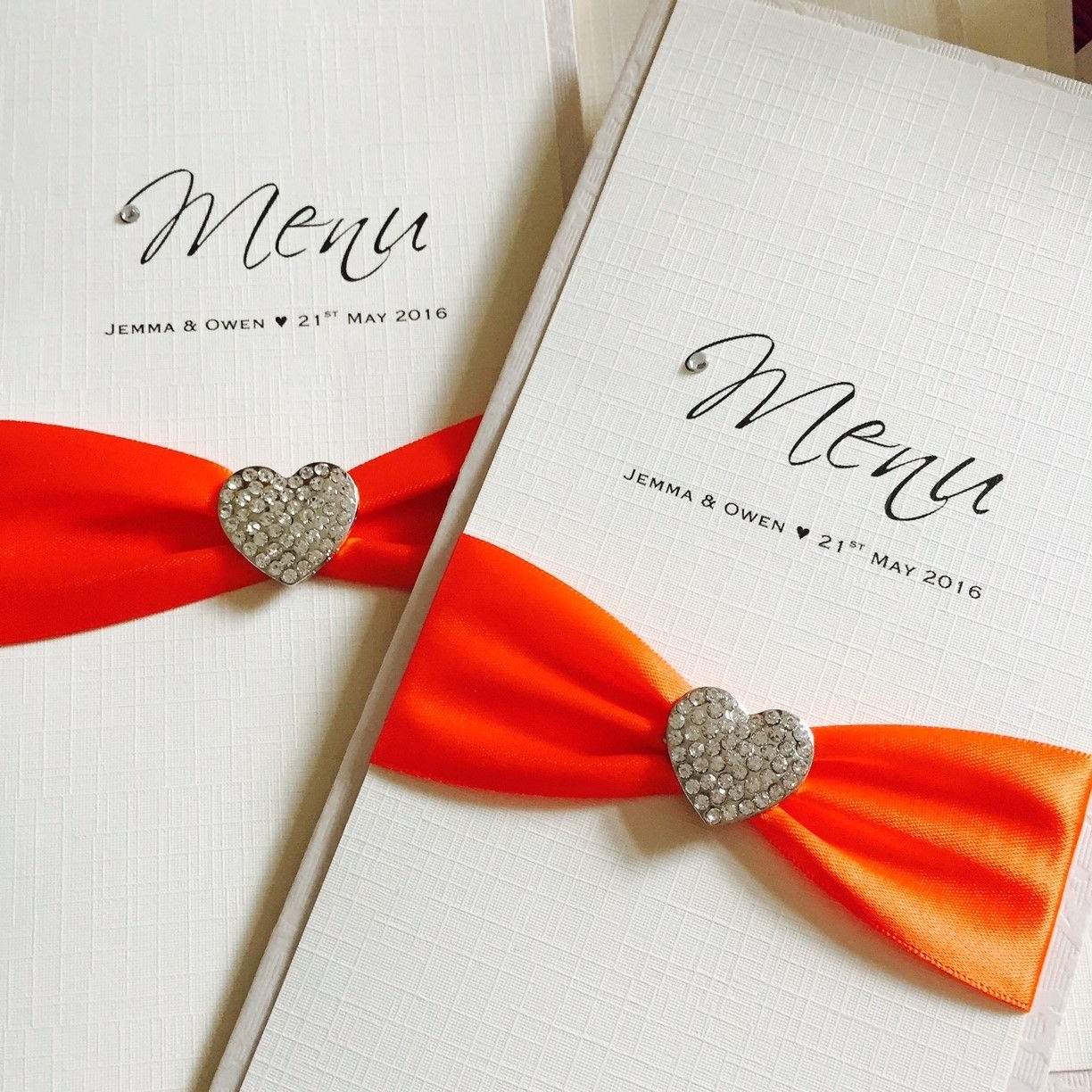 Personalised wedding breakfast menus