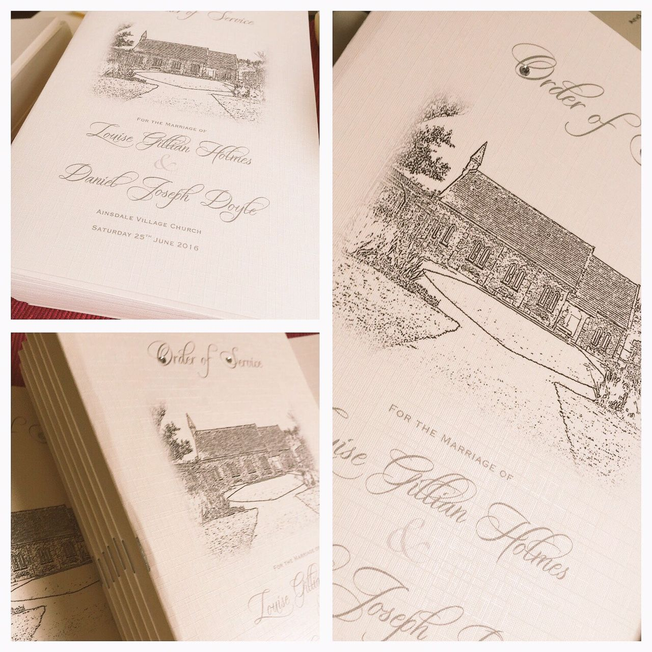 Order of services books for wedding with church image