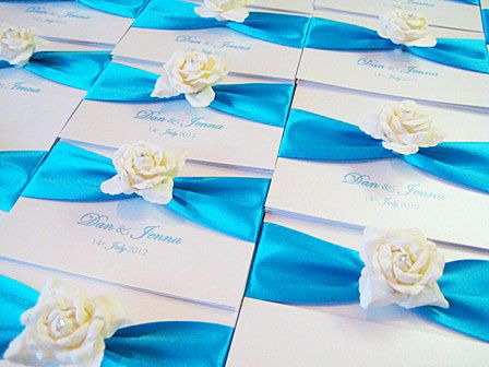 ivory and aqua invitations with ivory rose