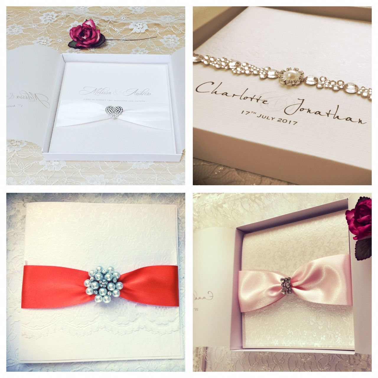 Quality boxed wedding invitations in a range of designs