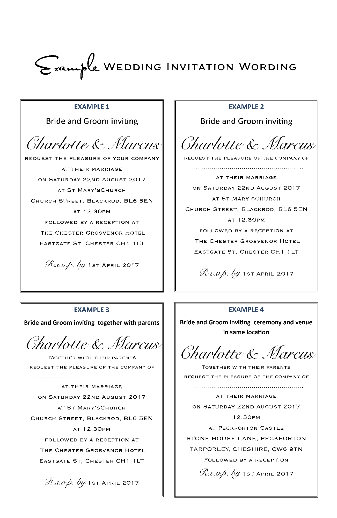 Wedding Invitation Wording Examples Amor Designs