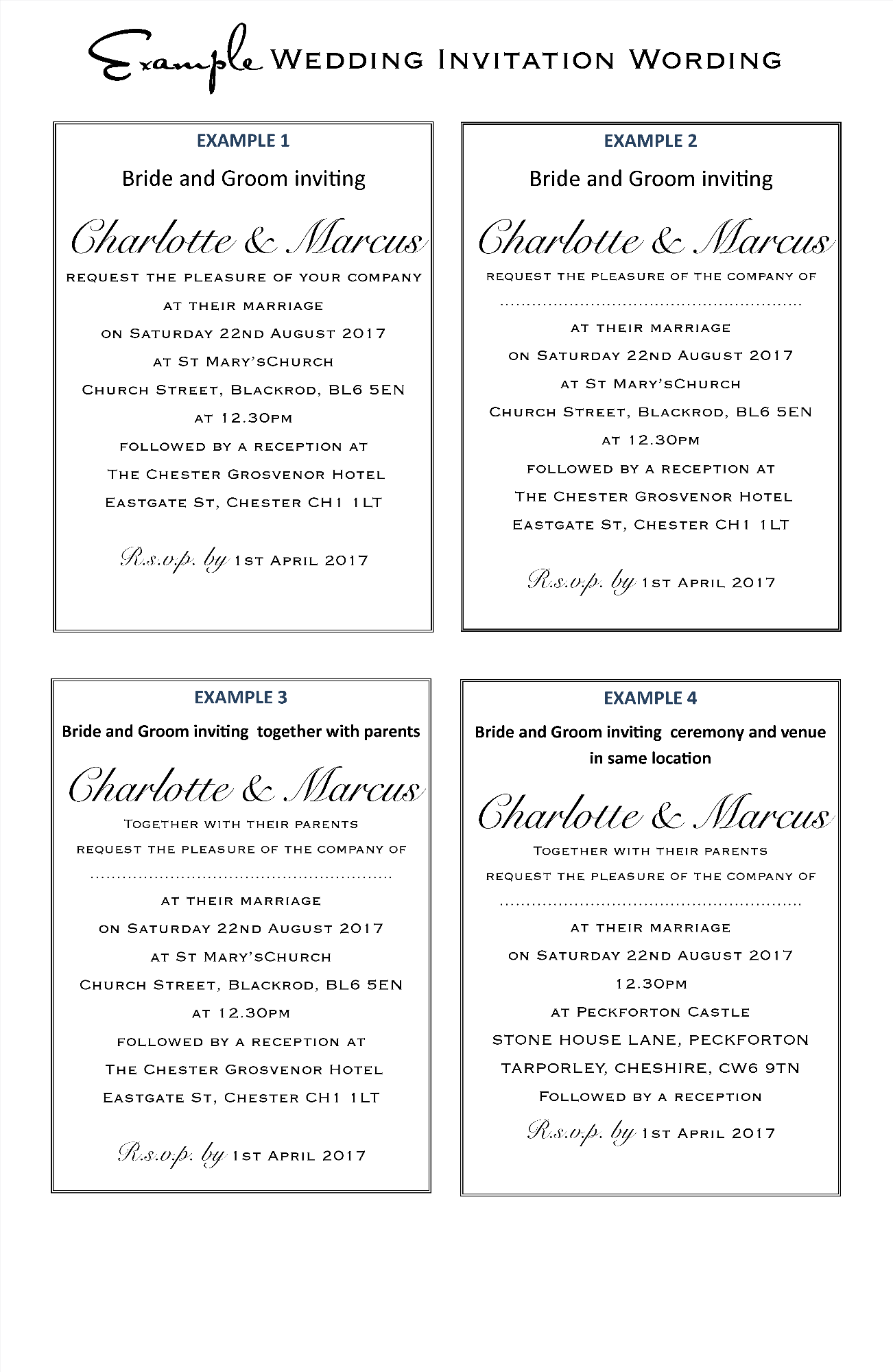 Wedding Invitation Wording Examples Amor Designs