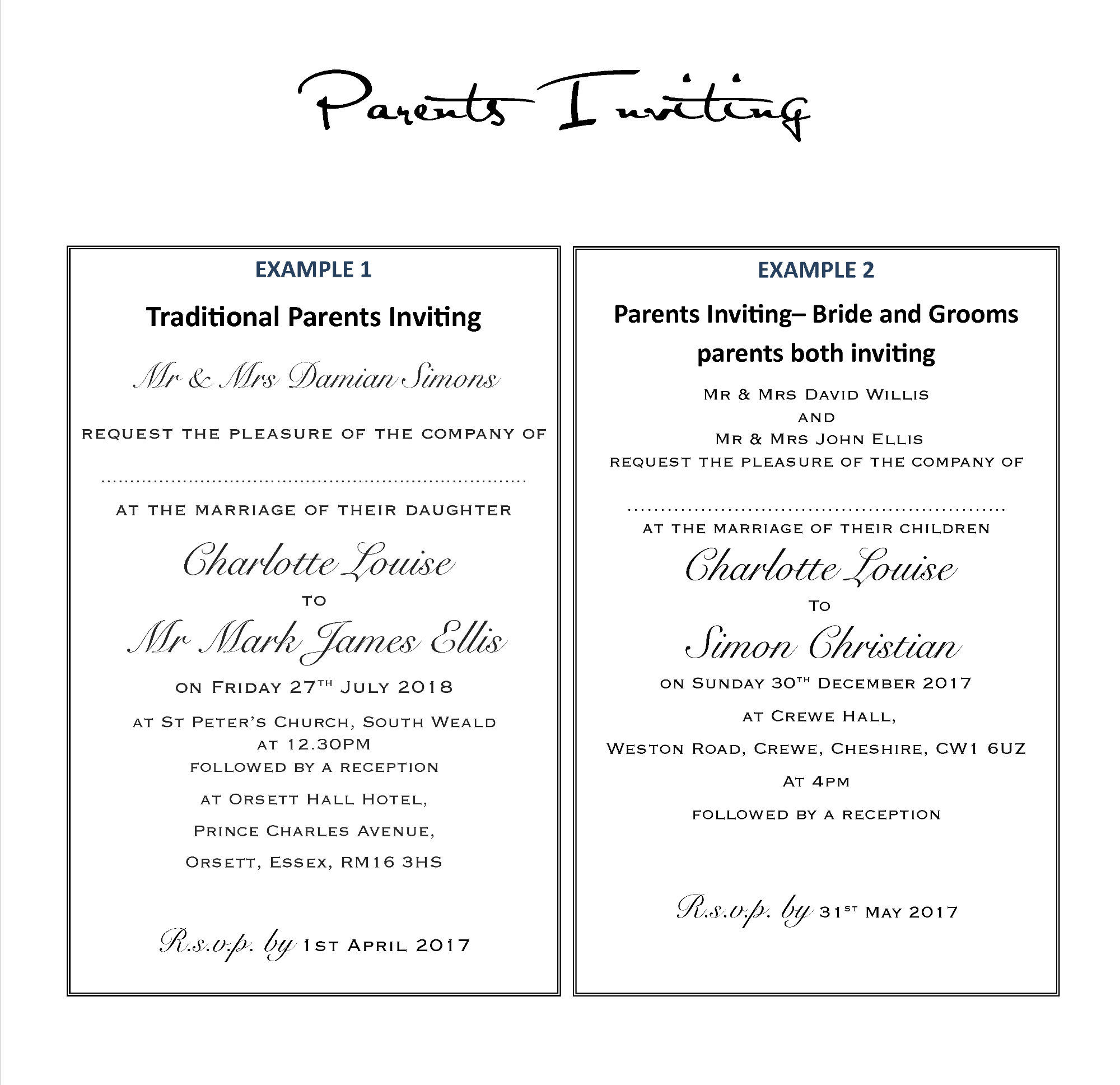 Traditional parents inviting wording for invitations