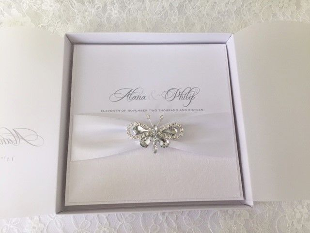 Butterfly wedding invitation in box