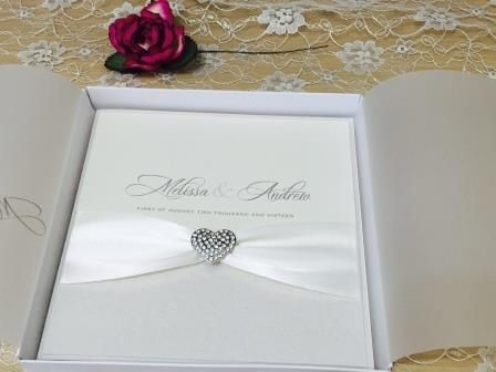 Diamante wedding invitations with lined box