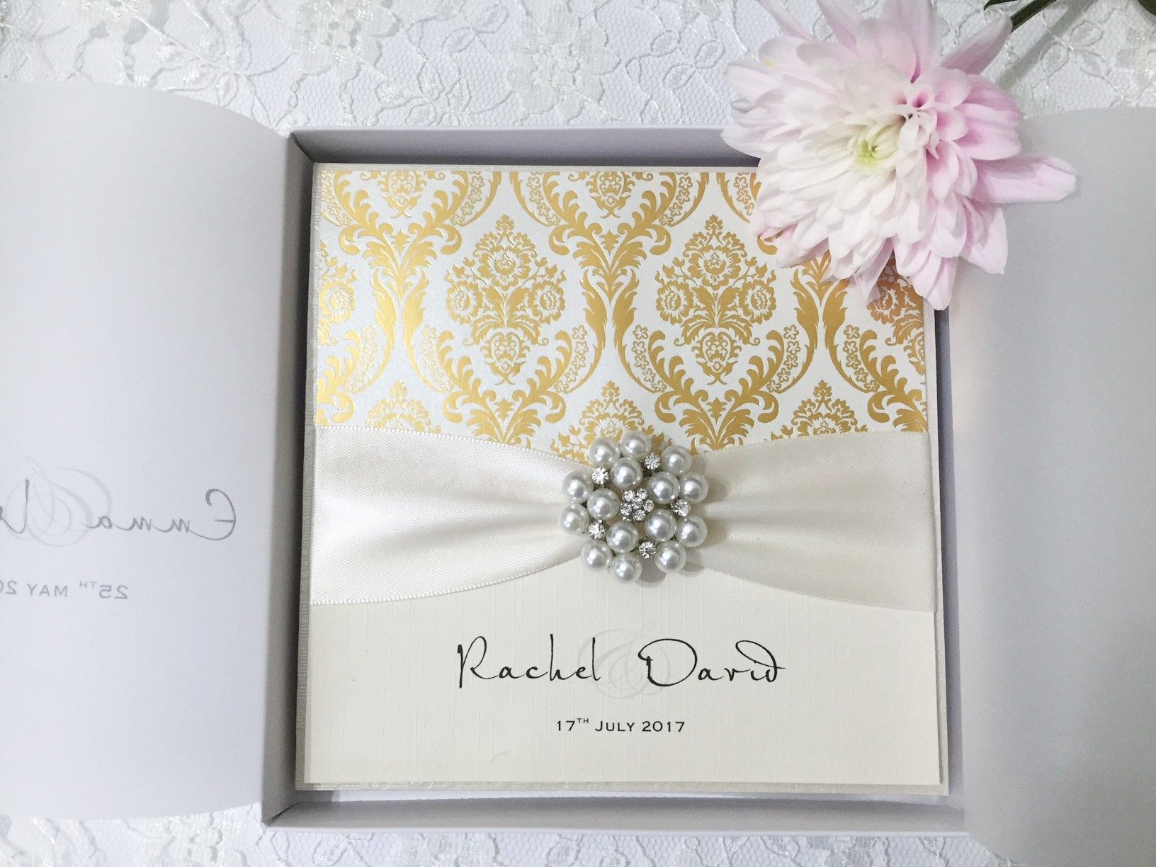 Gold and Champagne boxed wedding invitations