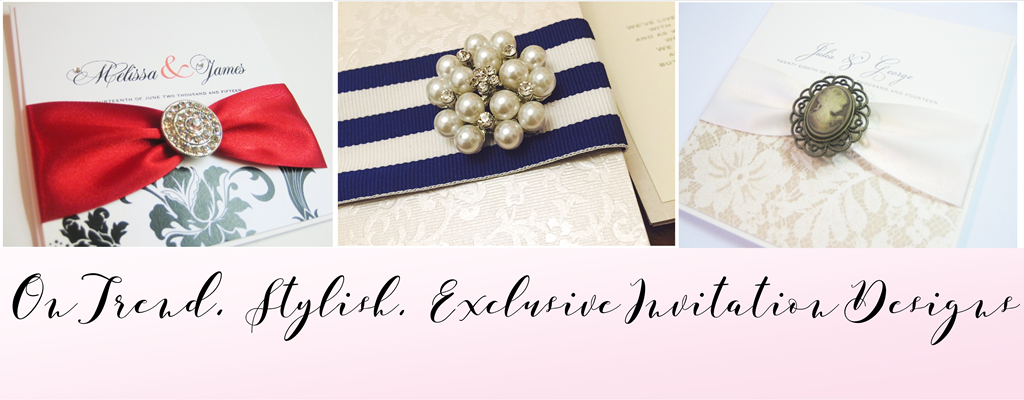 On trend, stylish exclusive wedding invitation designs