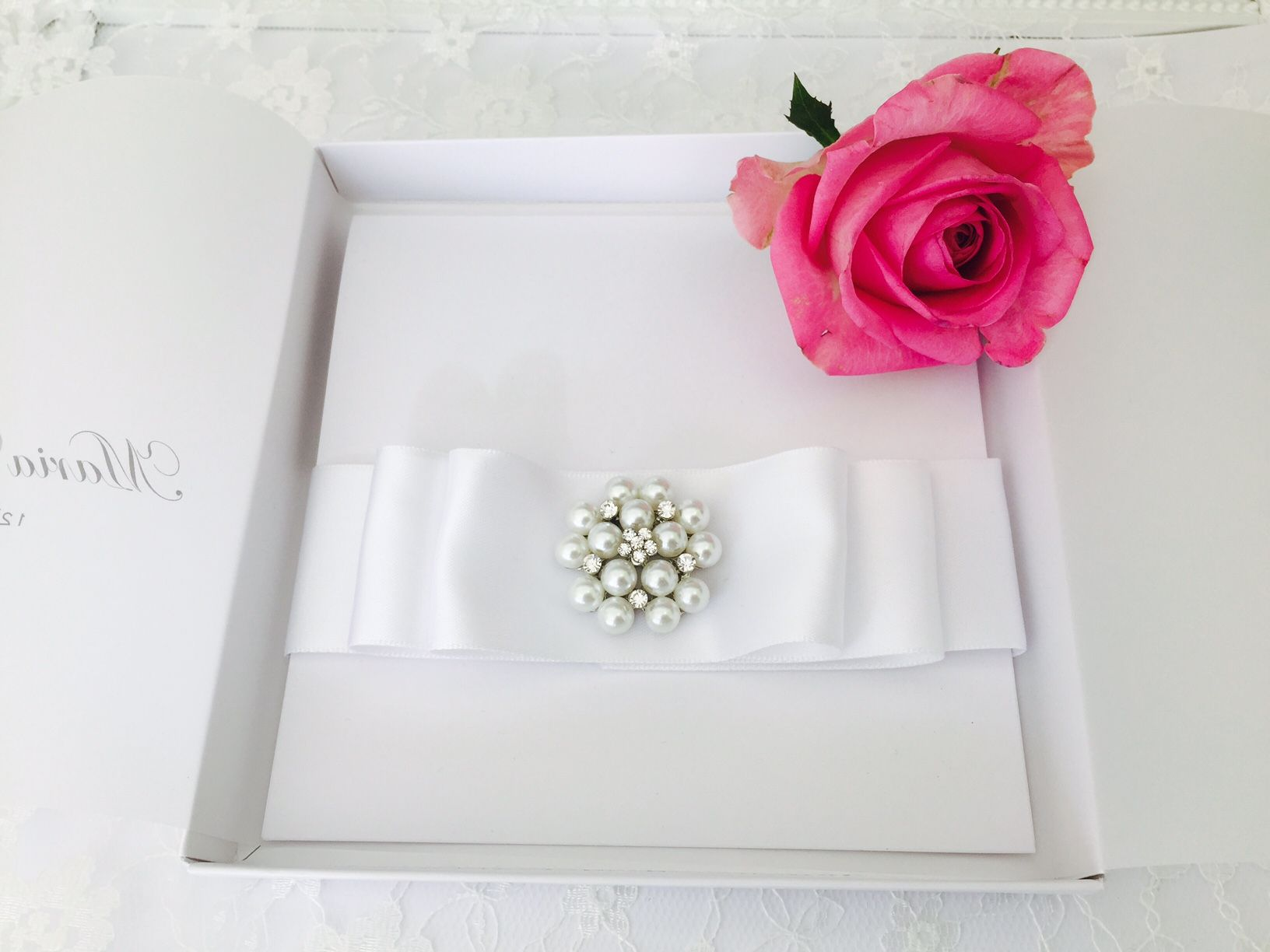 Luxury Boxed wedding invitation with pearl brooch