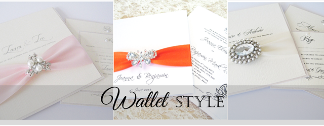 Pocketfold and wallet style wedding invitations