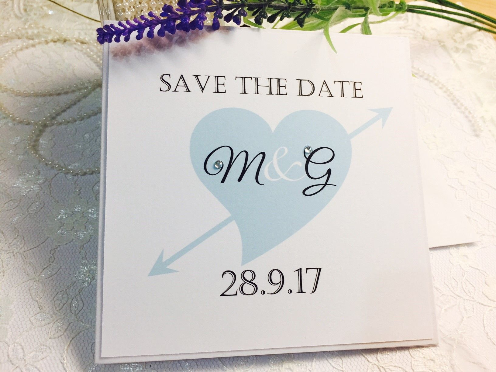 Hearts and Arrows Save the Date cards
