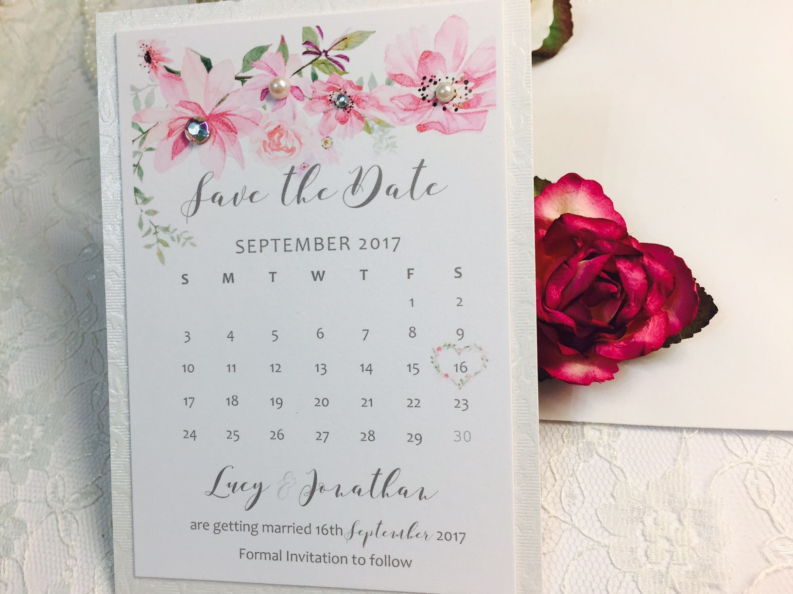Floral wedding calendar save the date card with pretty pink roses
