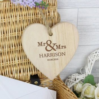 Mr and Mrs Personalised Heart Decoration - Heart on String Decoration