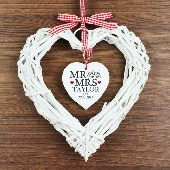 Mr and Mrs Personalised Wicker Heart Decoration