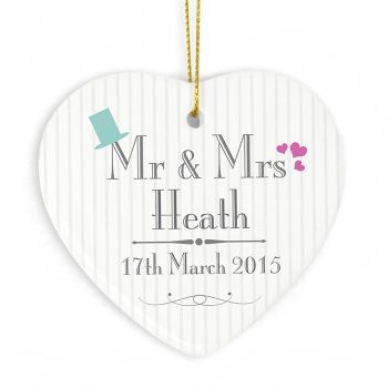 Mr and Mrs Personalised Ceramic Heart Decoration Tag