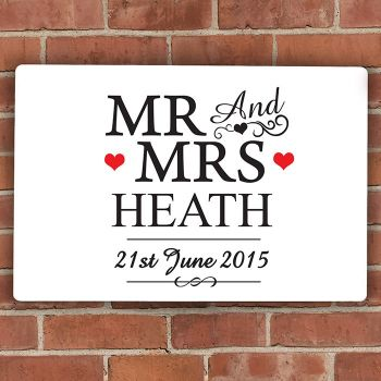 Mr and Mrs Personalised Aluminium Wedding Sign
