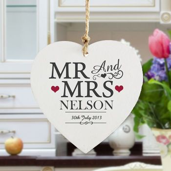 Mr and Mrs Wooden Heart Decoration - Personalised