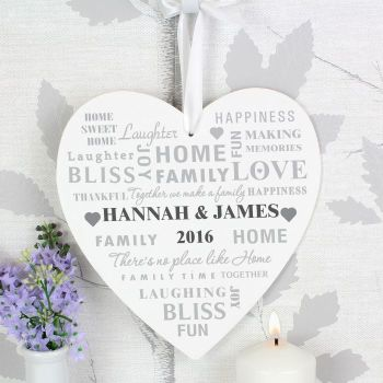 Large Personalised Typography Heart Sign/Plaque