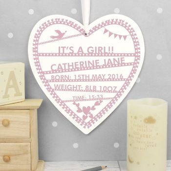 Large Personalised Heart Papercut Wooden Sign