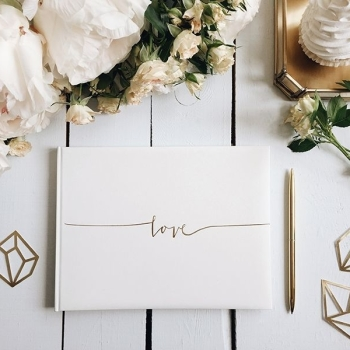 "Luxury Ivory and Gold Guest Book Modern ""Love"" Design"