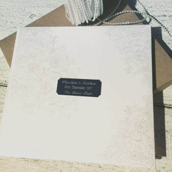 Plain White Guest Book with Engraved Silver Name Plaque