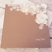 Vintage Guest Book Rustic Style with Ivory Flowers