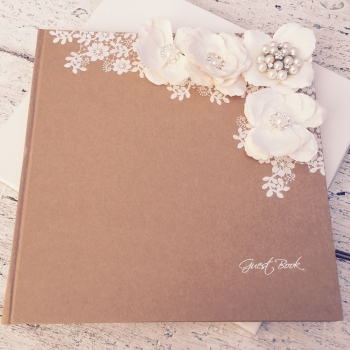 Rustic Style Vintage Guest Book with Flowers