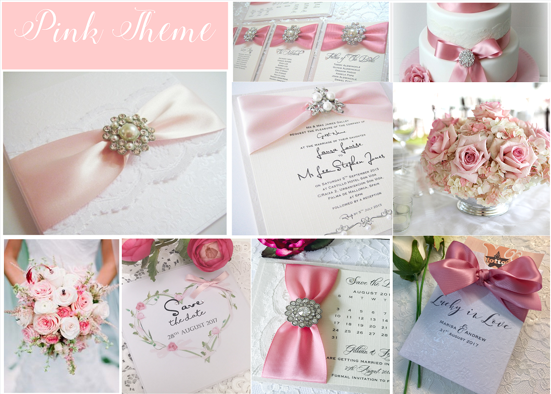 Pink wedding invitations with brooches