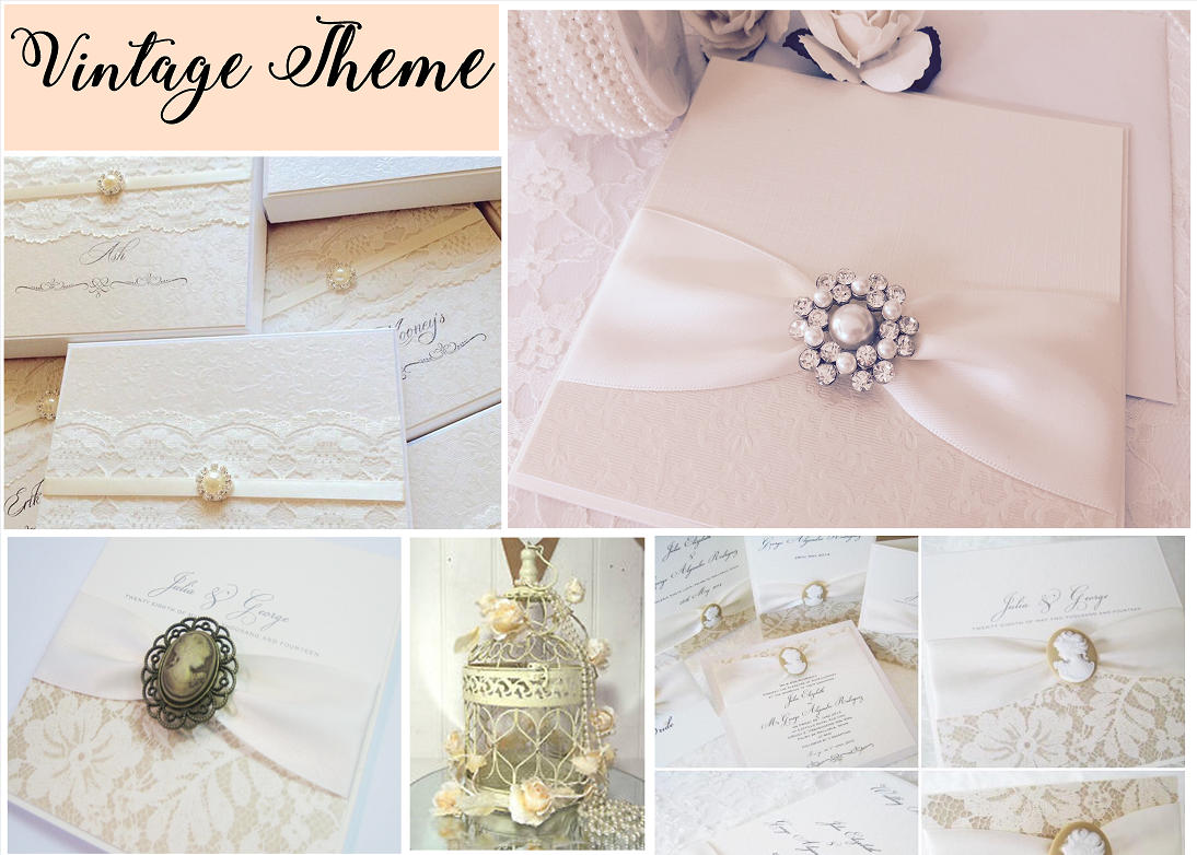 Vintage style wedding invitations with brooches