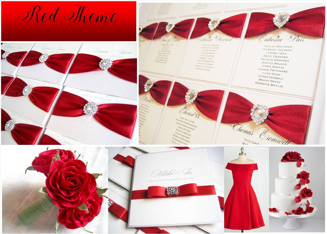 Red themed wedding invitations