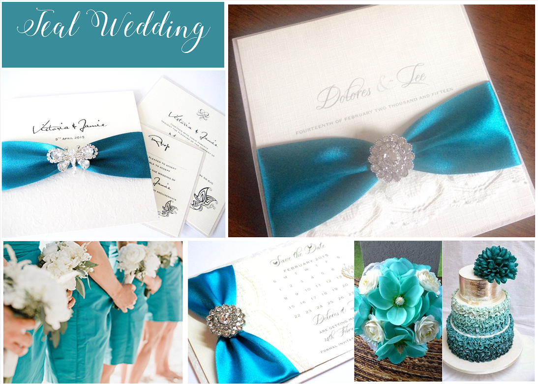 Teal wedding invitations with beautiful brooches